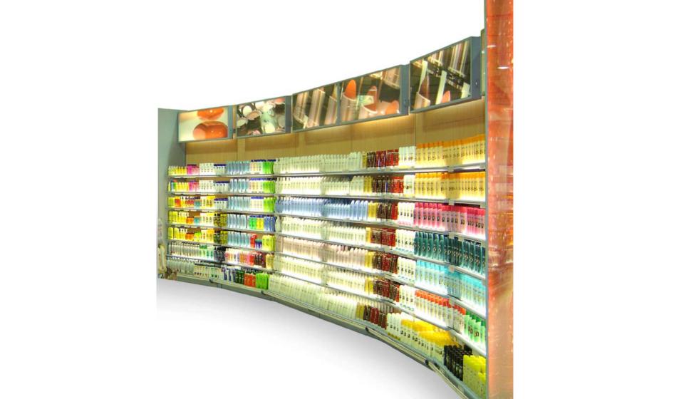 Scaffalatura per articoli cosmetici e profumeria con segnaletica personalizzata