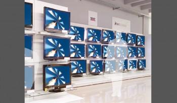Scaffale espositivo per negozio di elettronica ed elettrodomestici