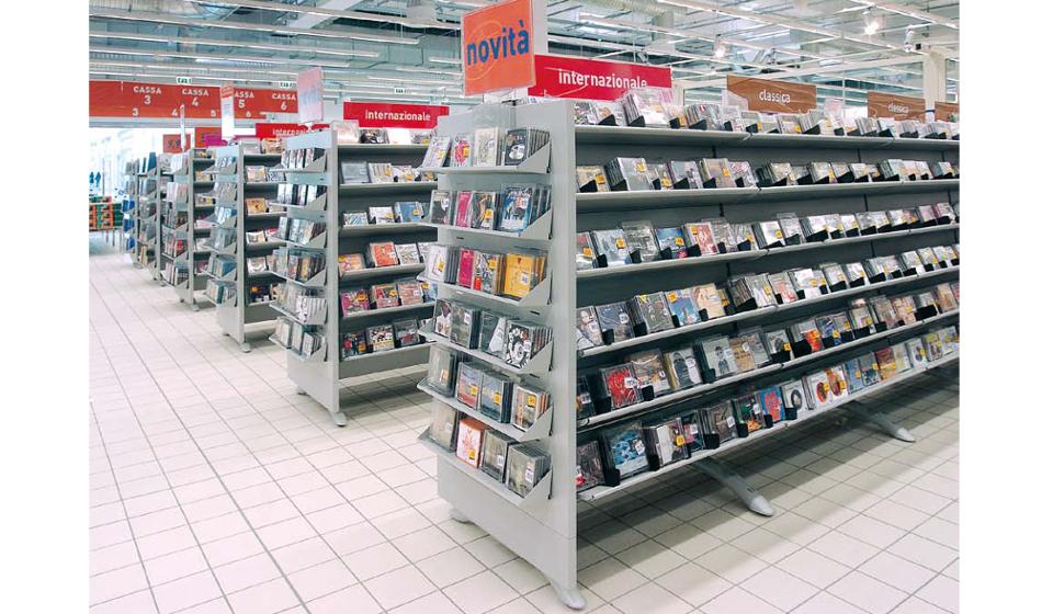 Scaffale gondola espositore per cd dvd ed articoli elettronici