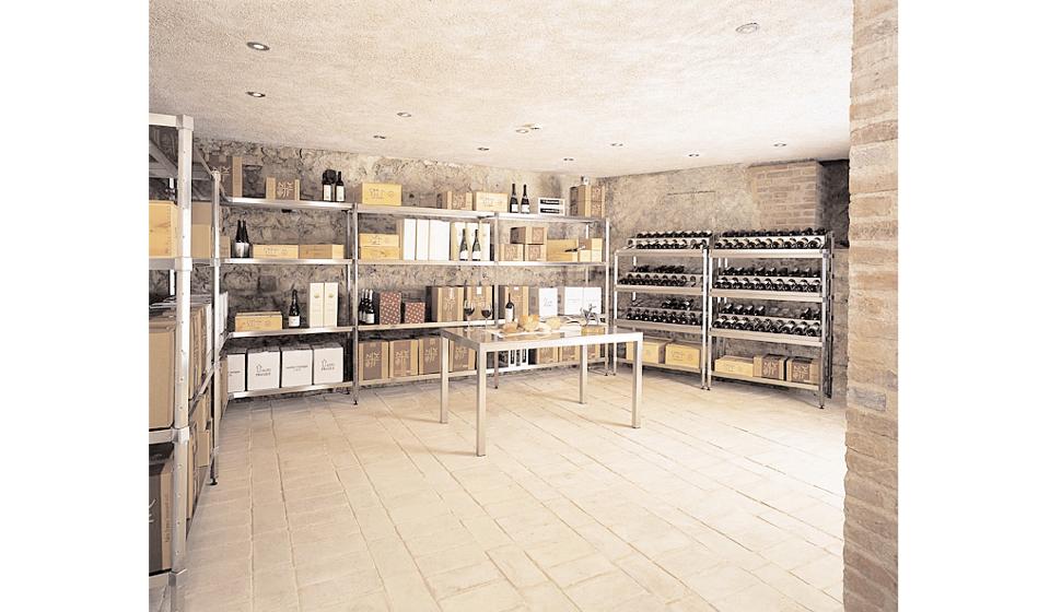 Scaffalatura per stoccaggio bottiglie di vino e champagne per