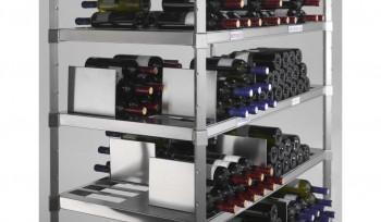 Scaffalatura in acciaio inox specifica per vino spumante e champagne