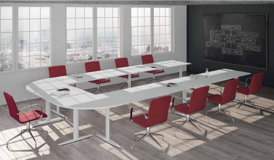 Tavolo riunioni ad U per sala riunioni composto da scrivanie operative
