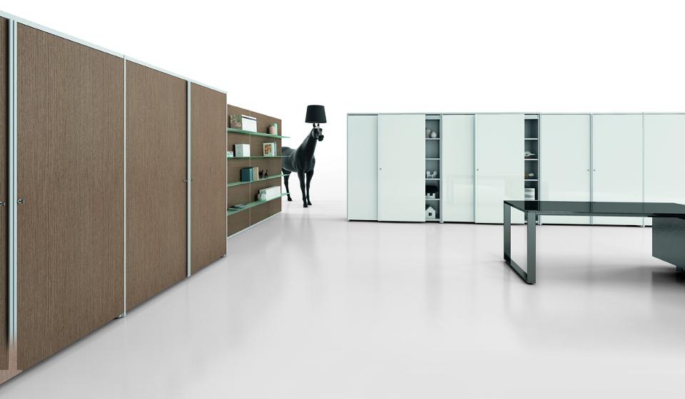 Mobili per ufficio ante scorrevoli laccate lucido o in legno