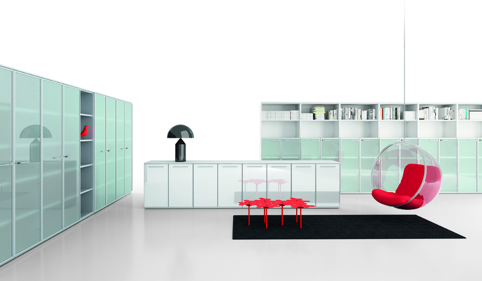 Mobili per ufficio con ante in vetro
