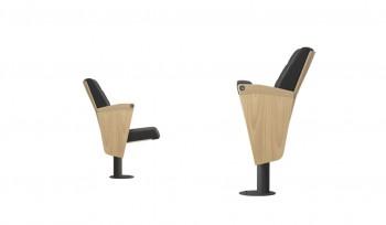 Poltrona a pozzetto per sala congressi con braccioli e schienali in legno