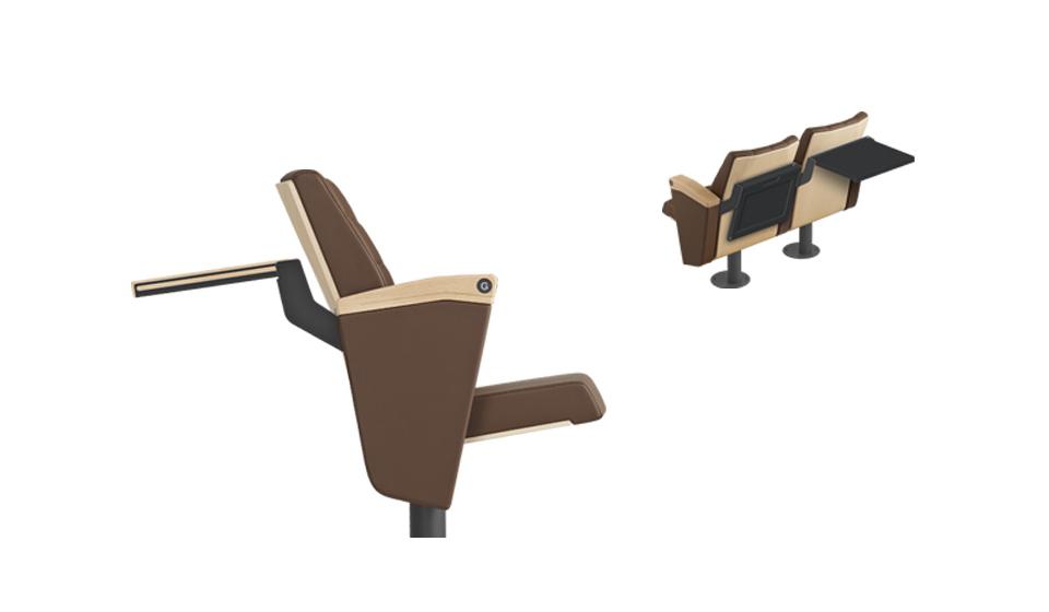Poltrona per aula magna e sala conferenze congressi con tavoletta dietro schienale
