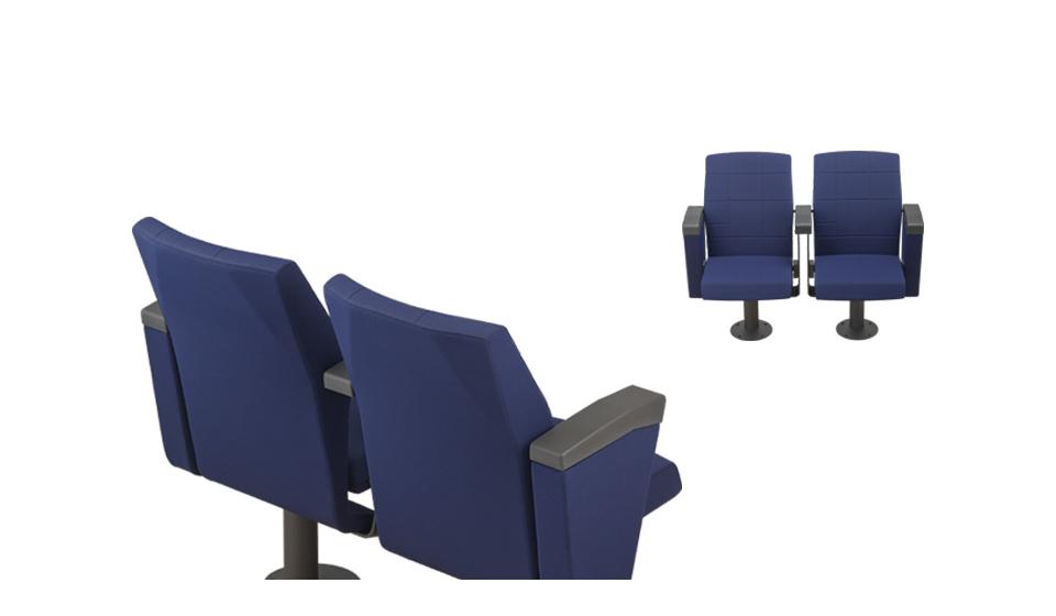 Sedia auditorium rivestita in tessuto o similpelle