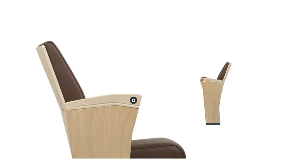 Sedia per auditorium in legno con imbottitura e rivestimento in pelle