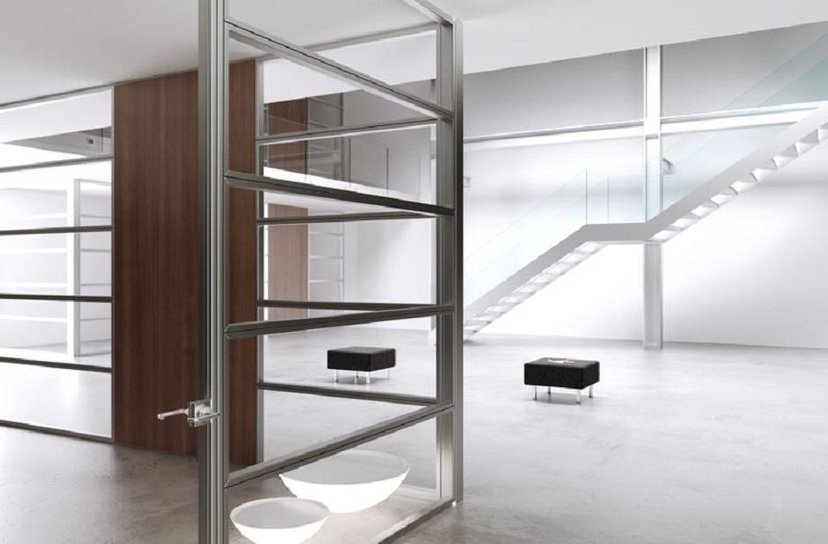 Allinone-parete-divisoria-e-attrezzata-in-vetro-e-acciaio-Riganelli-Arredamenti