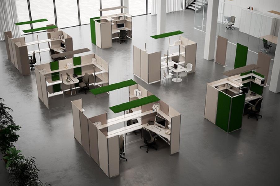 Tres pannelli fonoassorbenti correggere acustica in ufficio - riganelli