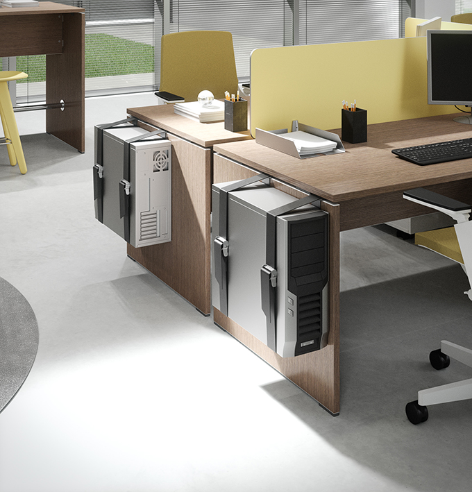 Soluzioni supporto porta cpu fastidioso sotto alla scrivania