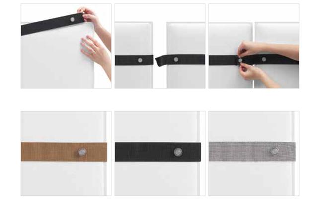 PLI Pannelli fonoassorbenti componibili con cinghie - Riganelli Arredamenti