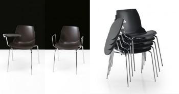 Kaleidos sedie per auditorium impilabili con tavoletta scrittoio - Riganelli Arredamenti