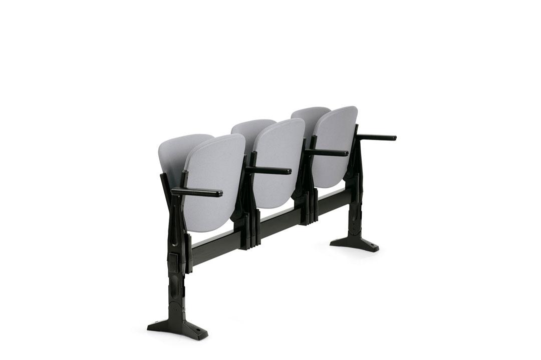 Poltrona agorà sbr con sedile ribaltabile braccioli tavoletta scrittoio per auditorium - Riganelli Arredamenti