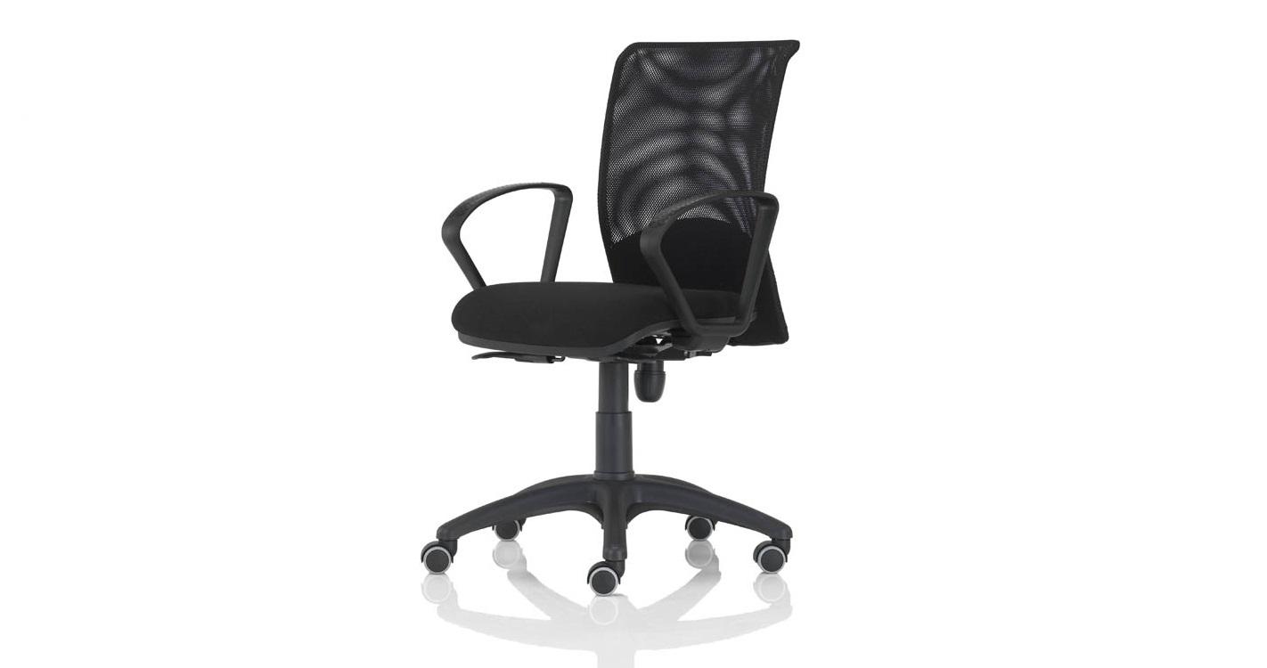 Quick bursa rete nera con braccioli fissi sedia per ufficio pronta consegna - Riganelli Arredamenti