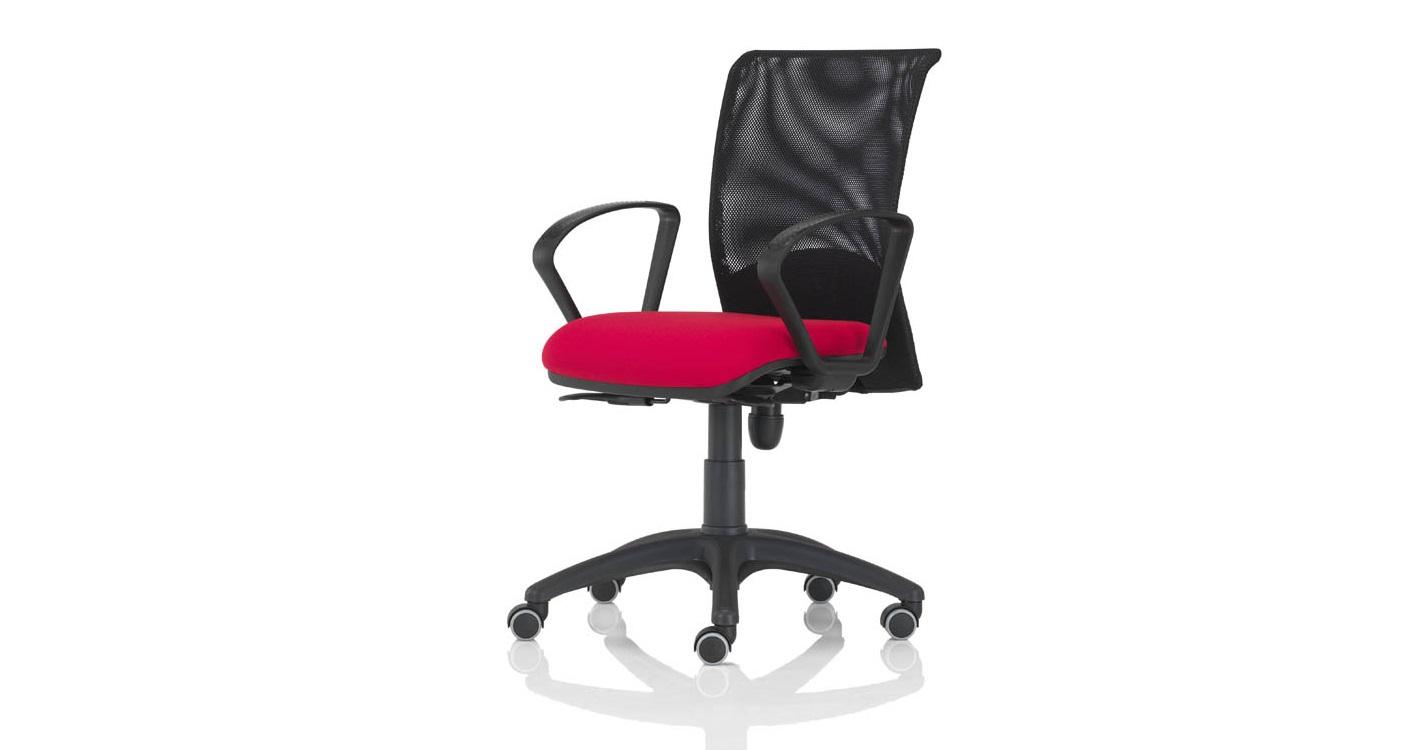 Quick bursa rete rossa con braccioli fissi sedia per ufficio pronta consegna - Riganelli Arredamenti