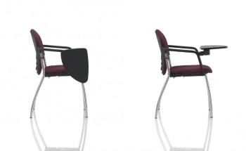 Sedute sulky 201 con tavoletta scrittoio gamba design cromata con braccioli - Riganelli Uffici