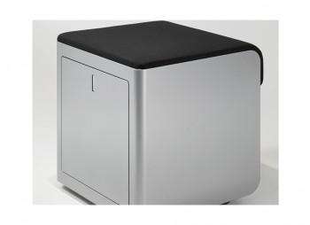 Cassettiera con cuscino cbox ufficio nera alluminio bianca - Riganelli Store