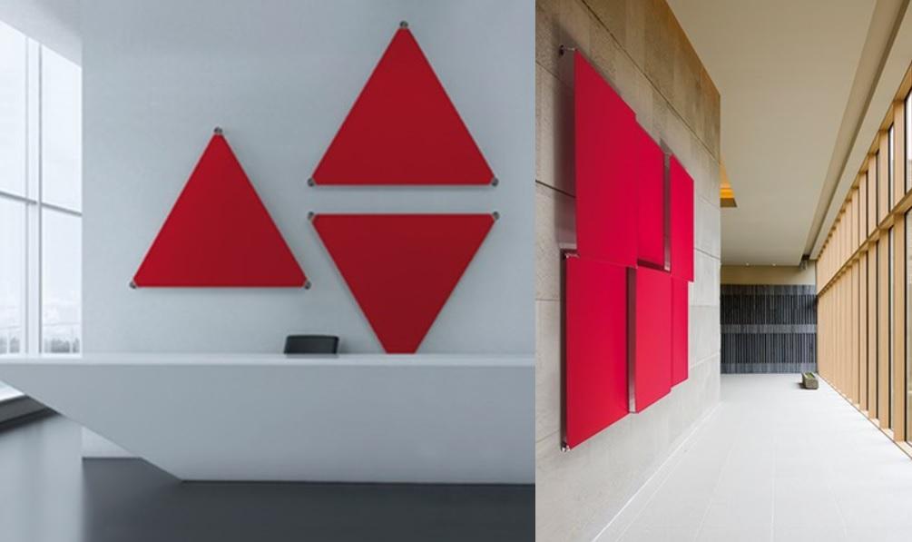 Sistema fonoassorbente acustico sipario triangolo rettangolo design - Riganelli Arredamenti