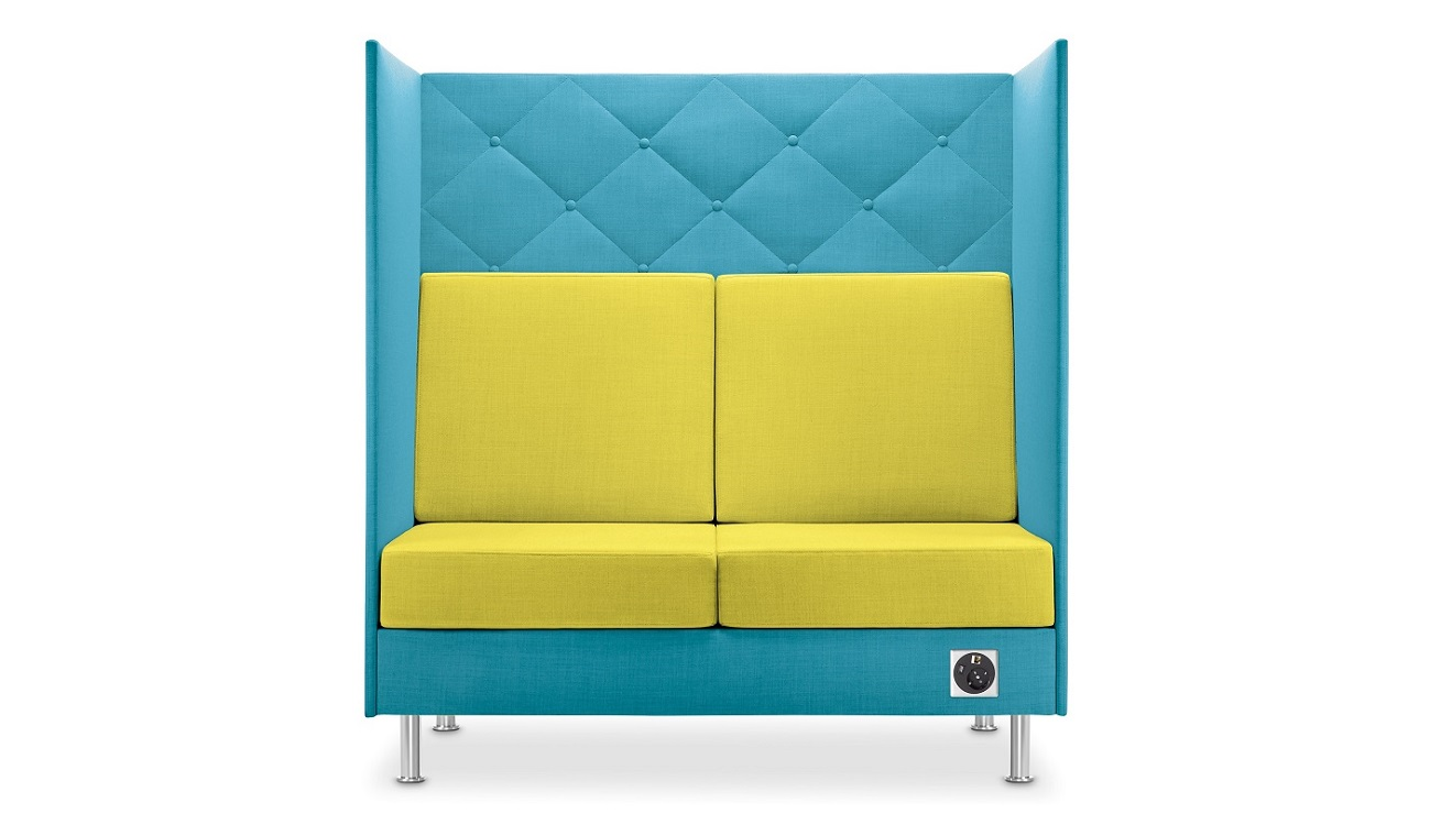 Atelier-divano-due-posti-colorato-comfort-acustico-attesa-lounge-Riganelli-Arredamenti