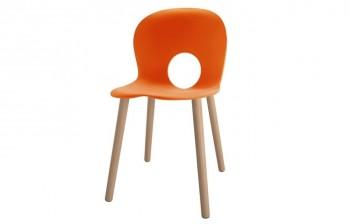 Olivia seduta Arancio con gambe in faggio - Riganelli Arredamenti