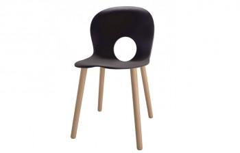 Olvia seduta Antracite con gambe in legno per ricevimento ospiti - Riganelli Arredamenti