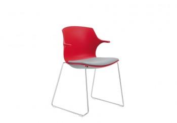 Frill sedia in polipropilene con sedile rivestimento base a slitta - Riganelli Arredamenti