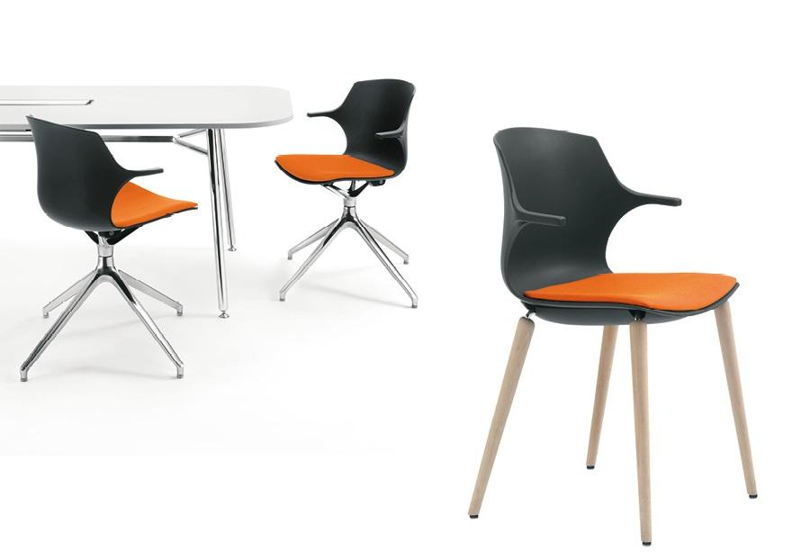 Frill sedie in polipropilene gambe ragno faggio 5 razze girevole - Riganelli Arredamenti