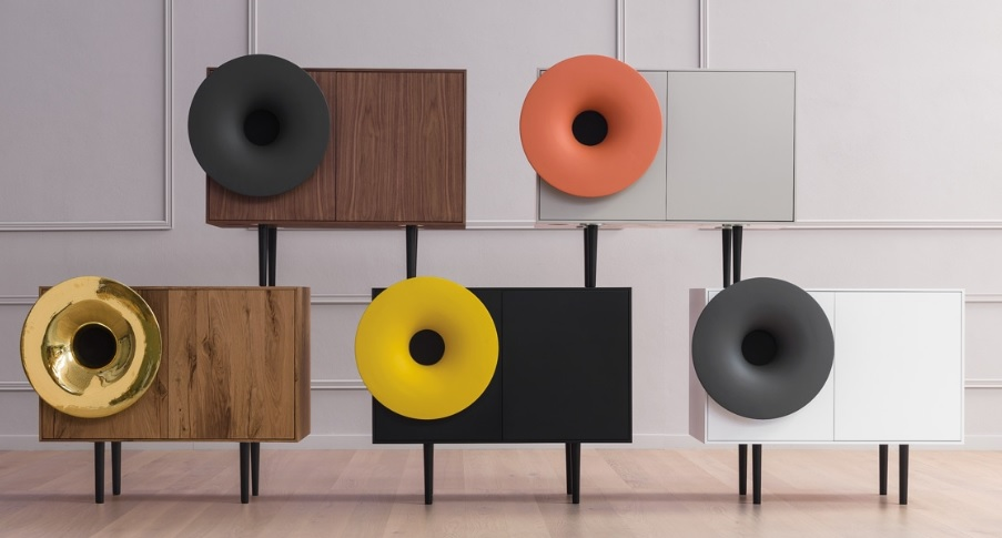 Caruso madia moderna di design con app musica - Riganelli Arredamenti