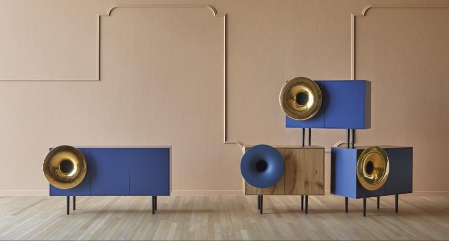 Madia Caruso colorata di design con musica - Riganelli Arredamenti