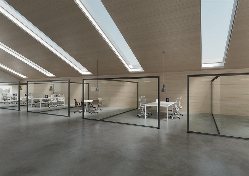 Monovetro-divisione-uffici-con-pareti-in-vetro-Riganelli-Arredamenti