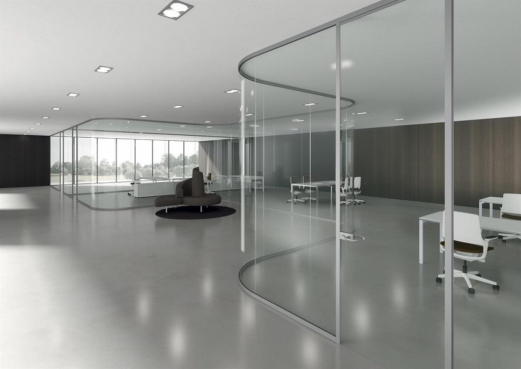 Monovetro-pareti-divisorie-uffici-in-vetro-arrotondate-di-design-Riganelli-Arredamenti