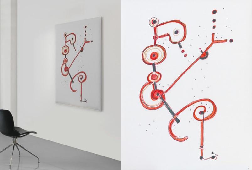 Snowsound art pannello fonoassorbente ambientato con disegno - Riganelli Arredamenti