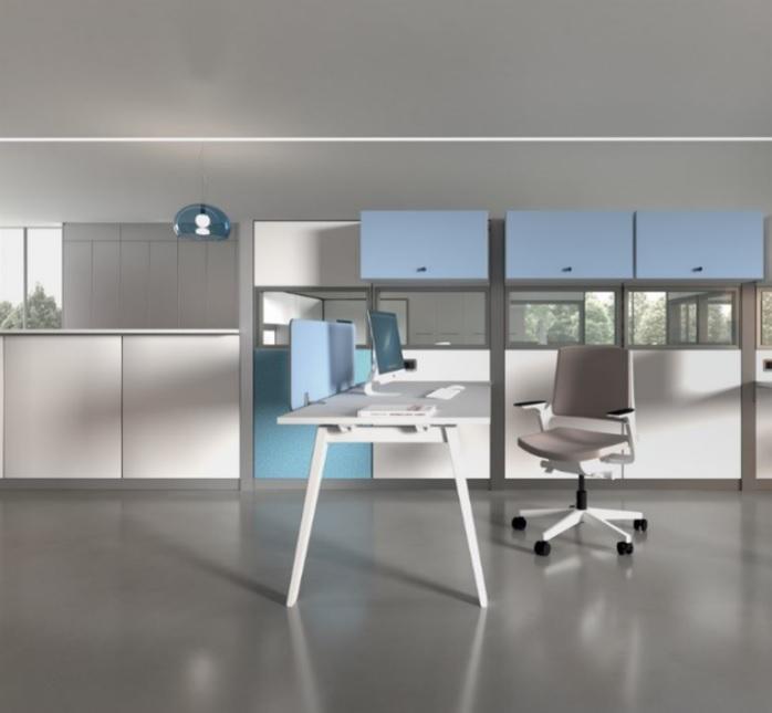 Divisori ufficio open space colorato di design - Riganelli arredamenti