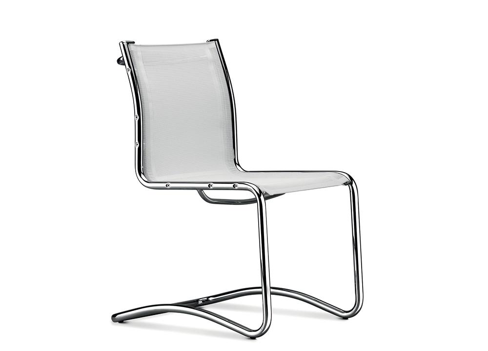 Retex sedia base slitta in rete bianca e cromata - Riganelli Arredamenti