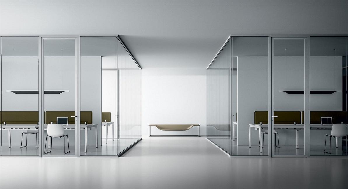 pareti attrezzate in vetro con porte - riganelli