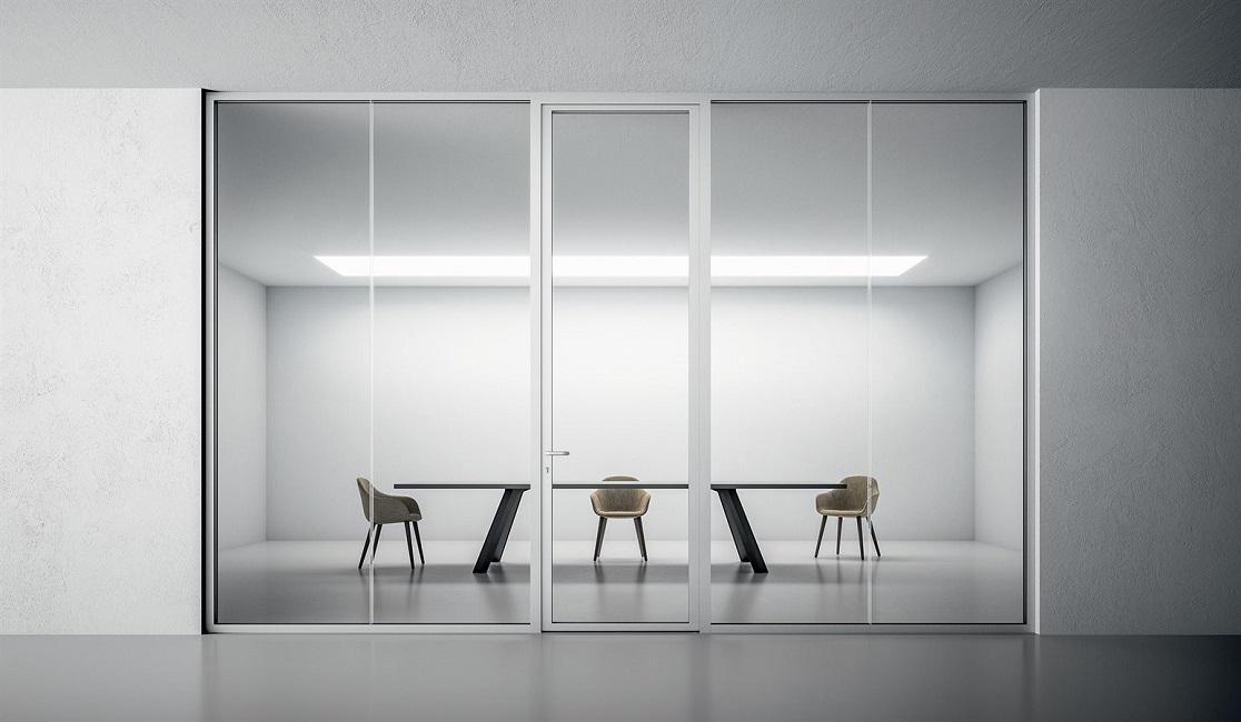 pareti divisorie in vetro con profili in alluminio - riganelli