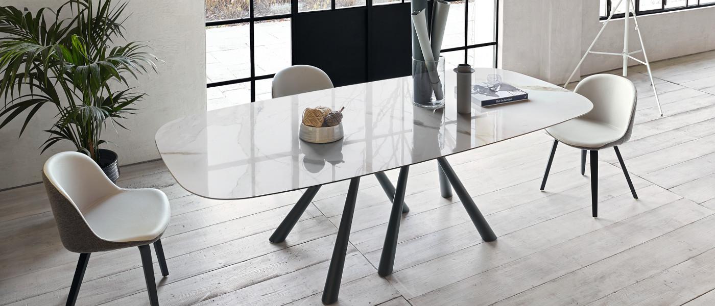 forest tavolo rettangolare con piano in cristalceramica - riganelli