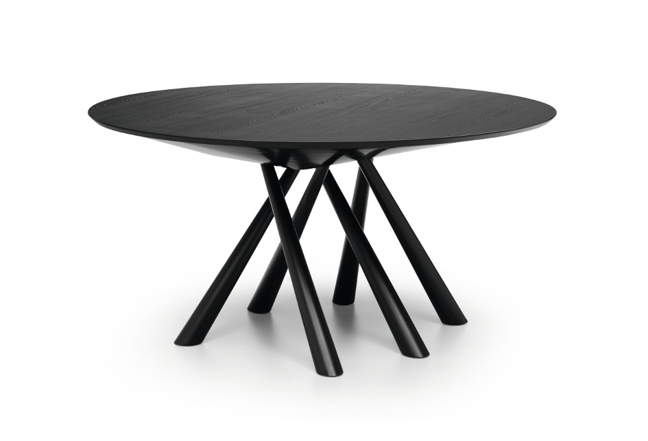 forest tavolo rotondo con top in legno impallacciato - riganelli
