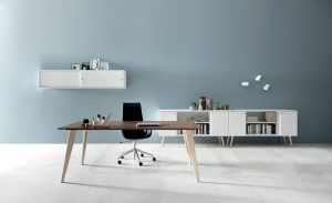 Pigreco ufficio operativo con gamba cavalletto in legno - riganelli