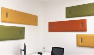 Dettaglio pannelli fonoassorbenti snowsound design per ufficio - riganelli