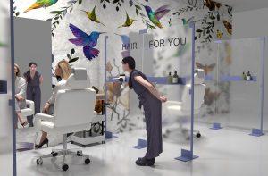 Paretina divisoria schermo trasparente per parrucchieria - riganelli