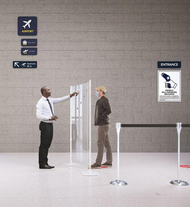 arianna safety divisorio trasparente per ingresso e misurazione temperatura -riganelli