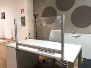 schermi di protezione ufficio trasparente da agganciare al piano della scrivania - riganelli