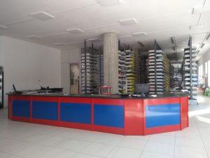 progettazione negozio di ricambi banco vendita su progetto -riganelli
