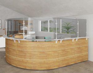 Arianna desk safety pannelli divisori per reception -riganelli