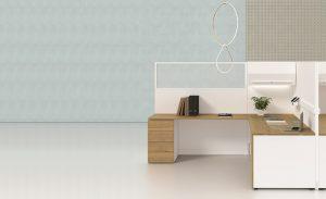 Sistema scrivania con paretina divisoria -riganelli