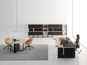vigo ufficio direzionale con scrivania tavolo rotondo e libreria -riganelli