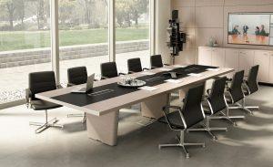 Tavolo riunione rettangolare con top access- riganelli