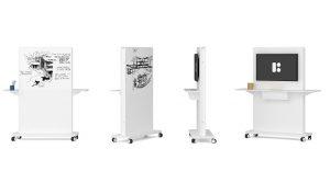 divisori lavagna trasportabili su ruote con supporto per video -riganelli